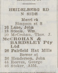 Image of record from Sands & McDougall Directory 1920 which features the Fairfield Hat Mills.