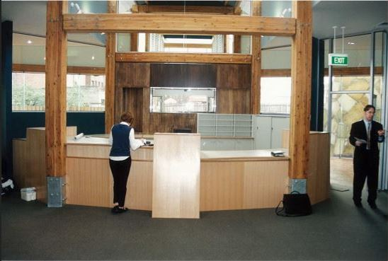 Image of the customer service desk at Fairfield Library before opening in 1999