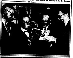 Image of four people at the opening of St Georges Rd Library in 1959