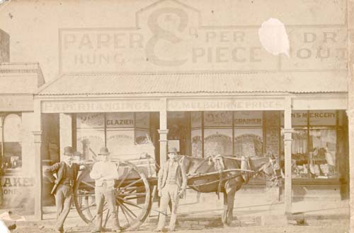 Image - photo - Horse and cart outside Sanguinetti's decorating store.