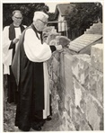 Image. Photo of Bishop Baker of All Saints Church Northcote laying foundation stone in 1965