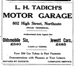 Newspaper Clipping of Advertisement for L. H Tadich's Motor Garage from Northcote Leader 1925