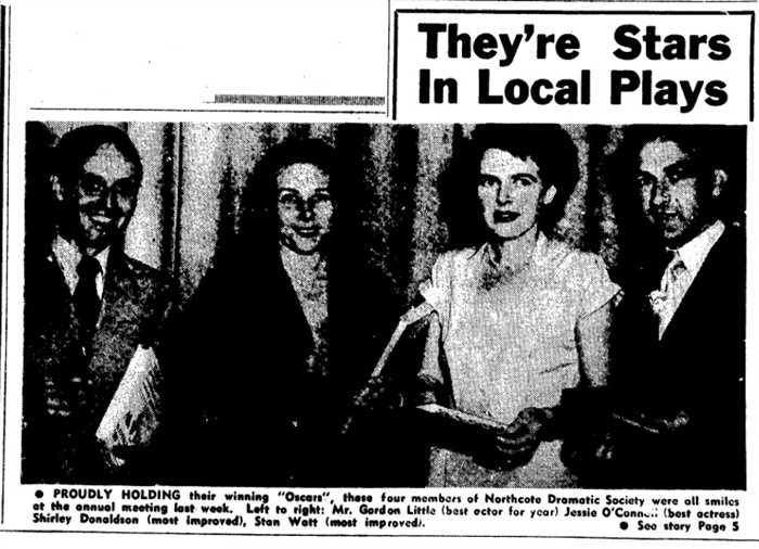 Image from a newspaper article of four members of the Northcote Dramatic Society in 1955