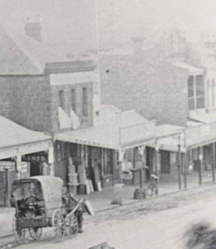 Image - photo - Horse and carriage outside Basting's general store, High Street, Northcote, circa 1890