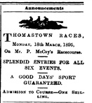 Image - Advertisement for horse racing at track next to Belmont Hotel.