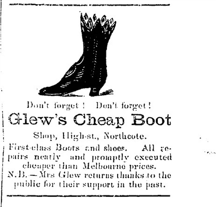 Image - Advertisement for Glew's Bootmakers from Northcote Leader.