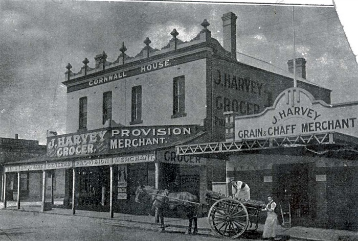 Image - photo - Horse and cart outside Harvey's grocer store, High Street, Preston
