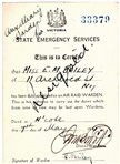 Image - document - Identification paper for Miss E. M. Bailey, Air Warden