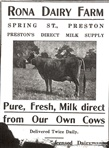 Image - Advertisement for the Rona Dairy Farm, circa 1923.